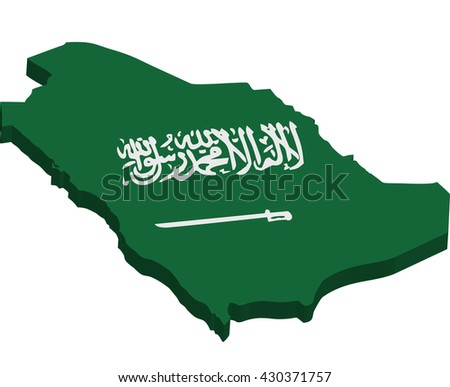 A map of Saudi Arabia 3D on white background
