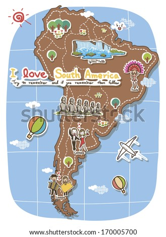 A map of South America depicting tourist destinations. - stock photo