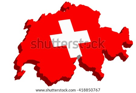 A map of Switzerland 3D with flag on white background