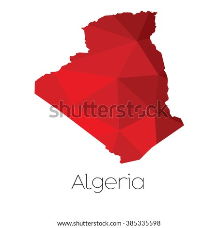 A Map of the country of Algeria - stock photo