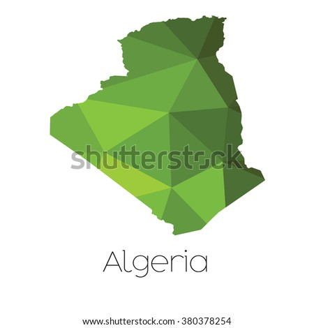 A Map of the country of Algeria Algeria - stock photo