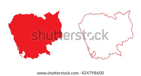 A Map of the country of Cambodia - stock photo