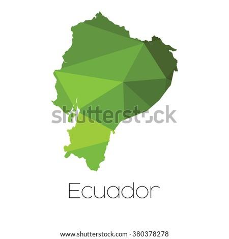 A Map of the country of Ecuador Ecuador - stock photo