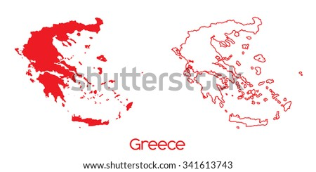 A Map of the country of Greece