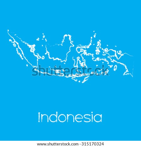 A Map of the country of Indonesia