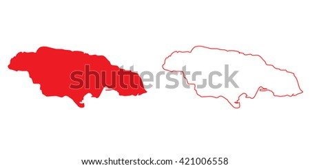 A Map of the country of Jamaica - stock photo