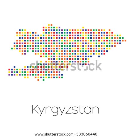 A Map of the country of Kyrgyzstan