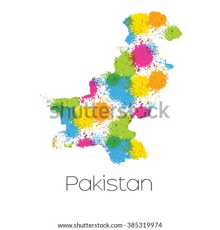 A Map of the country of Pakistan - stock photo