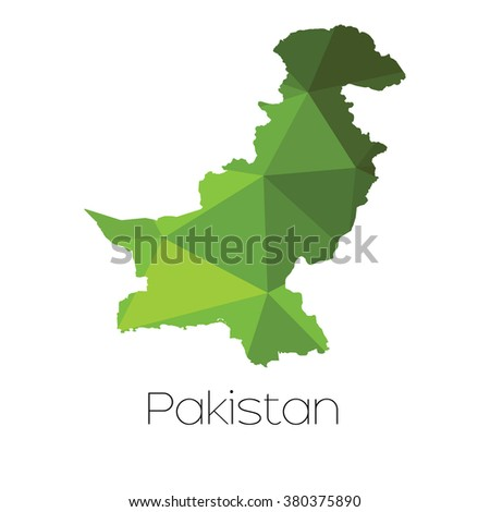 A Map of the country of Pakistan Pakistan - stock photo