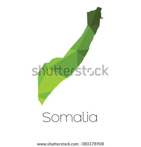 A Map of the country of Somalia Somalia - stock photo