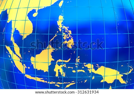 A map of the golden land of the south-east Asia with latitude and longitude. - stock photo