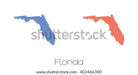 A Map of the the state  Florida - stock photo