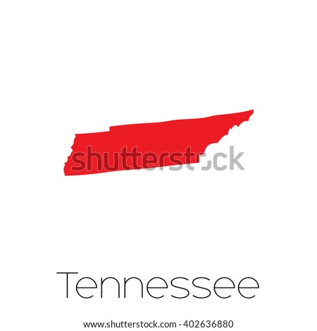 A Map of the the state  Tennessee - stock photo