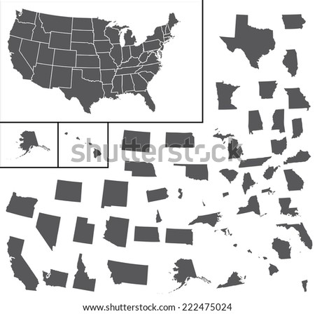 A Map of the the United States of America - stock photo