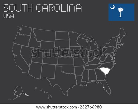 A Map of the the United States of America with 1 state selected - South Carolina - stock photo
