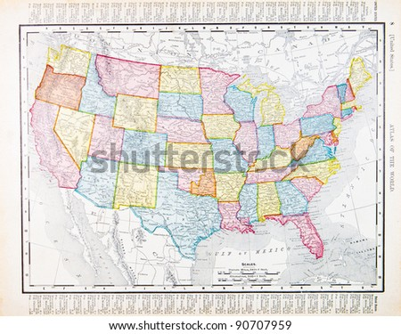 Map United States Spoffords Atlas World Stock Photo - A map of the united states