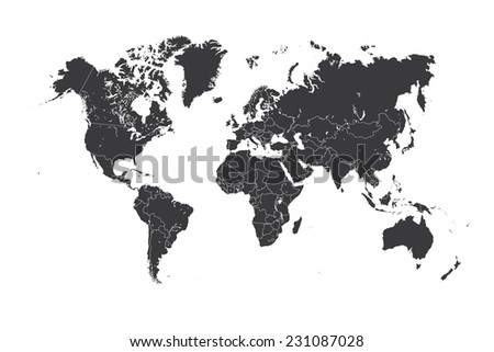 A Map of the world with a selected country of Gambia - stock photo