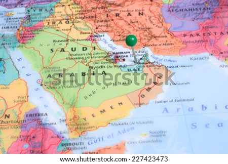 Map Green Map Pin Placed Abu Stock Photo Royalty Free 227423473