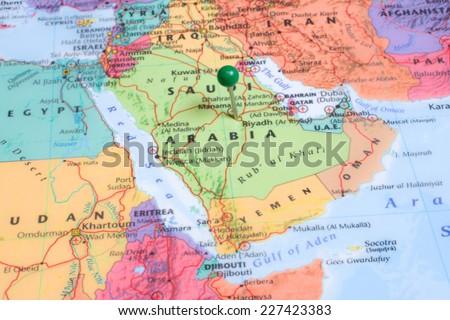 Map Green Map Pin Placed Riyadh Stock Photo Royalty Free 227423383