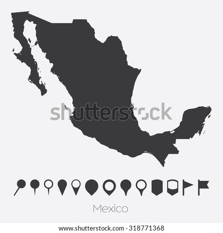 A Map with pointers of the country of Mexico