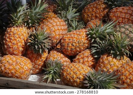 A market stall offers fresh ripe pineapples for sale - stock photo