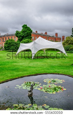 A marquee/tent erected ready for use