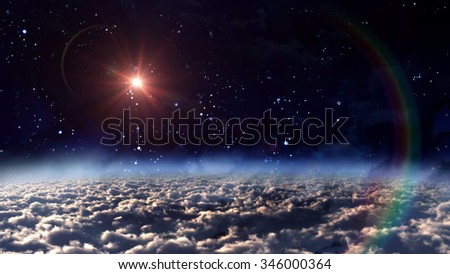 A mars illuminated in night sky with star background - Elements of this Image Furnished by NASA