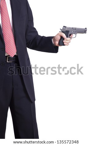 A mature adult man wearing a suit, holding a 9mm gun with both hands aiming it to the target. Isolated on white background.