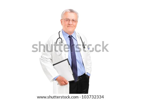 A mature healthcare professional posing isolated against white background - stock photo