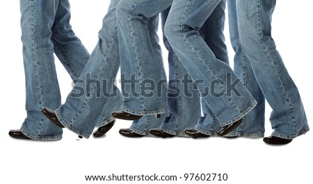 A Mature Woman Takes One Step Forward - stock photo