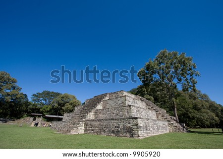 A mayan temple in the ruins of Copan - stock photo