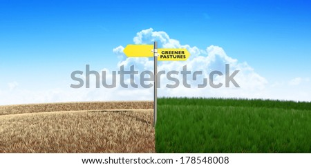 A meadow symmetrically cut split by a wooden fence with one side flourishing and the other withering symbolizing the saying greener pastures on a blue sky background
