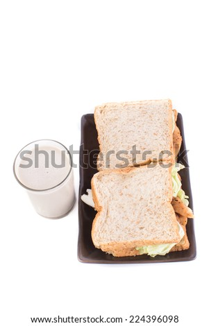 A meal of a sandwich and cold milk