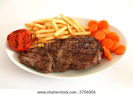 A meal of grilled rump steak with potato chips, sliced carrot and grilled tomato.