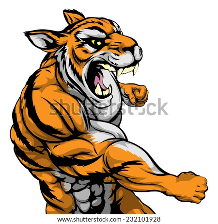 A mean looking tiger sports mascot fighting and punching with fist - stock photo