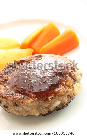 A meat patty with vegetables on the side. - stock photo