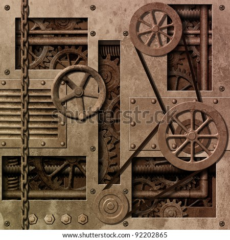 A Mechanical Industrial Background with Gears and Pulleys - stock photo