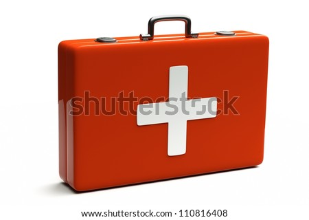 a medical bag isolated on white - stock photo