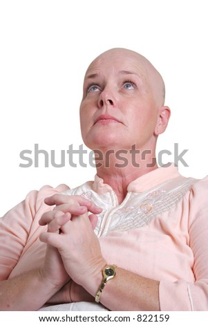 A medical patient praying and looking to God for healing. - stock photo