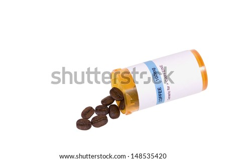 A medicine bottle with coffee beans isolated on white. - stock photo