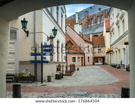 A medieval buildings in the old city of Riga, Latvia. In 2014, Riga is the European capital of culture - stock photo