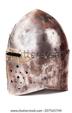 a medieval helmet isolated over a white background - stock photo