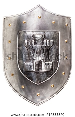 a medieval iron shield isolated over a white background - stock photo