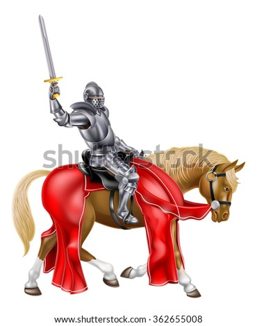 A medieval knight in armour on a horse holding a sword in the air - stock photo
