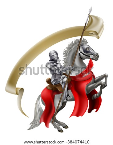 A medieval knight in armour on the back of a rearing white horse holding a spear flag - stock photo