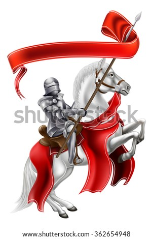 A medieval knight on the back of a rearing white horse holding a banner - stock photo