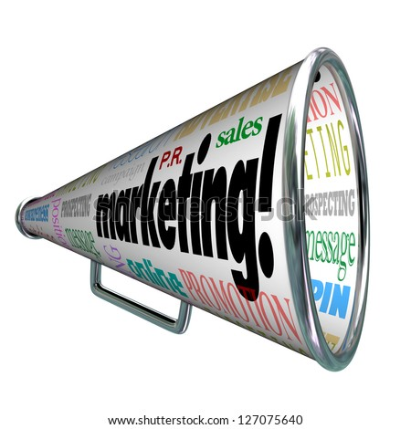 A megaphone or bullhorn with words on it for Marketing, advertising, positioning, awareness, message, public relations, sales, online, prospecting, targeting and more - stock photo