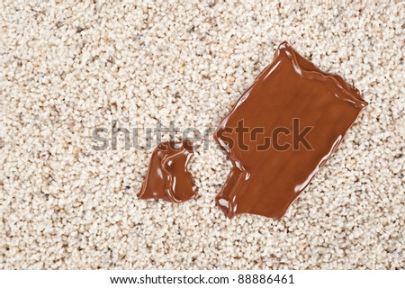 A melting chocolate candy bar dropped on a newly carpeted floor. - stock photo