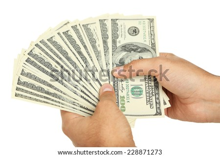 A Men hand holding hundred dollar bill on white background