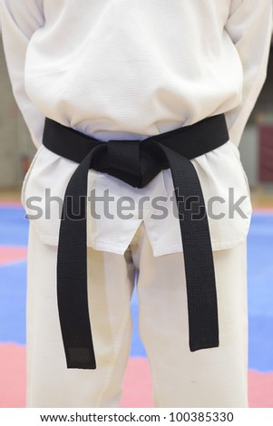 a men wearing a black belt in taekwondo - stock photo